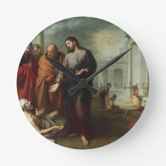 Christ at the Pool of Bethesda, 1667-70 (oil on ca Round Clock