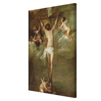Christ attended by angels holding chalices stretched canvas prints