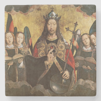 Christ Blessing, central panel from a triptych Stone Beverage Coaster