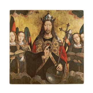 Christ Blessing, central panel from a triptych Wood Coaster