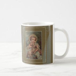 Christ Child Jesus w/cross & lamb gold green Basic White Mug