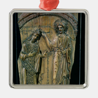 Christ Crowning the Emperor Constantine VII Silver-Colored Square Decoration