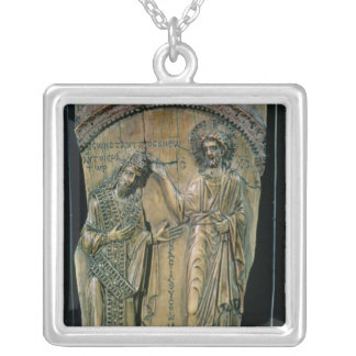 Christ Crowning the Emperor Constantine VII Silver Plated Necklace