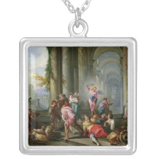 Christ Driving the Merchants from the Temple Silver Plated Necklace