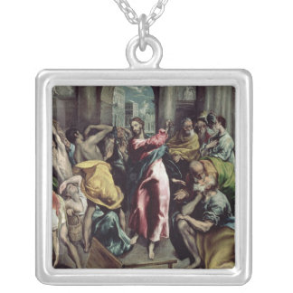 Christ Driving the Traders from the Temple Silver Plated Necklace