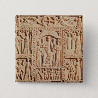 Christ Enthroned, from an Evangelistary 15 Cm Square Badge