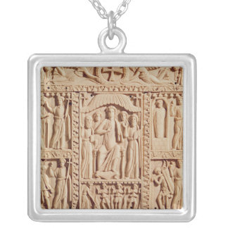 Christ Enthroned, from an Evangelistary Silver Plated Necklace