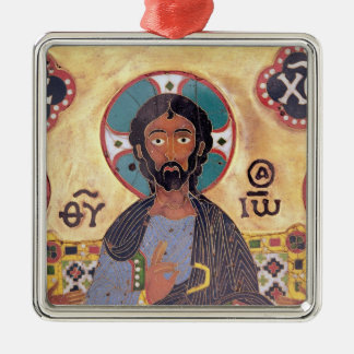Christ Enthroned Silver-Colored Square Decoration
