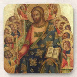 Christ Enthroned with Saints and Angels Handing th Beverage Coaster