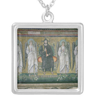 Christ enthroned with the angels 2 silver plated necklace