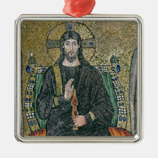 Christ enthroned with the angels Silver-Colored square decoration