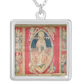 Christ enthroned with the apocalyptic beasts silver plated necklace