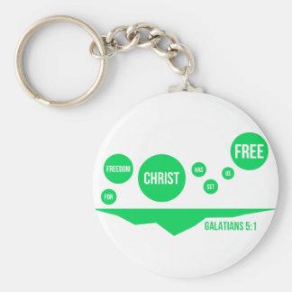Christ Has Set Us Free - Galatians 5:1 Basic Round Button Keychain