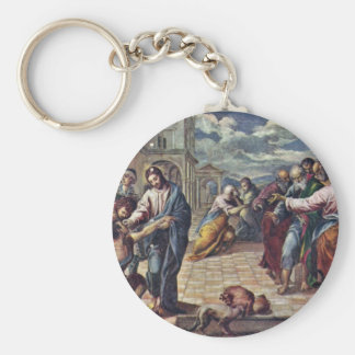 Christ Heals The Blind By Greco El Basic Round Button Key Ring