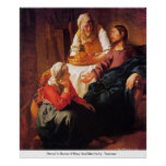 Christ In House of Mary And Martha by Vermeer Poster