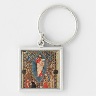 Christ in Majesty with Saints Silver-Colored Square Key Ring