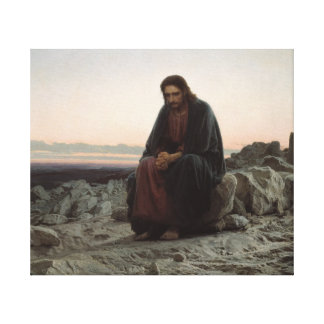Christ in the Desert Stretched Canvas Print