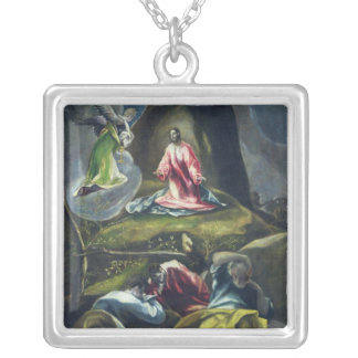 Christ in the Garden of Olives Silver Plated Necklace