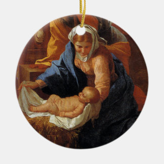 Christ In The Manger Round Ornament