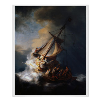 Christ in the Storm Vintage Art Print Poster