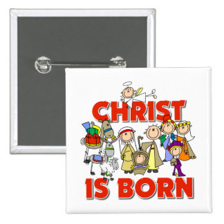 Christ Is Born Christmas Gift 15 Cm Square Badge