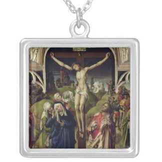 Christ on the Cross, the Holy Women Silver Plated Necklace