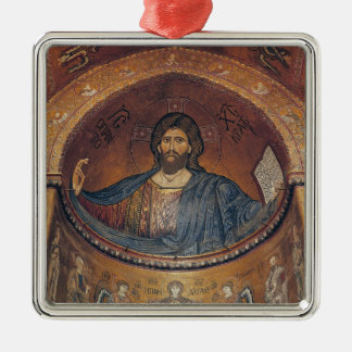 Christ Pantocrator and the Madonna Silver-Colored Square Decoration