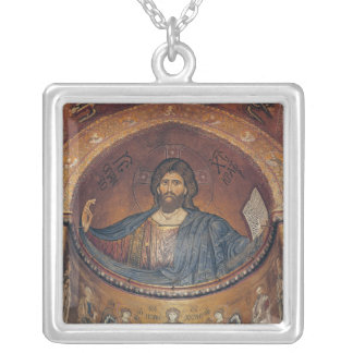 Christ Pantocrator and the Madonna Silver Plated Necklace