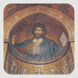 Christ Pantocrator and the Madonna Square Sticker