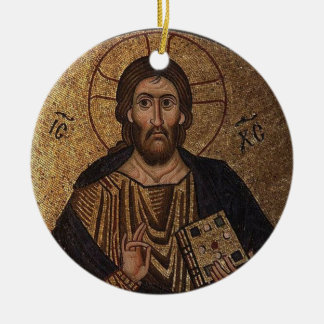 Christ Pantocrator Mosaic Christian Orthodox Icon Christmas Ornament