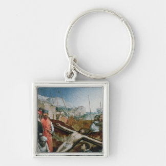 Christ Raised on the Cross, 1496-1504 Silver-Colored Square Key Ring