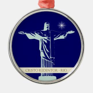 Christ Rio de Janeiro Silver-Colored Round Decoration