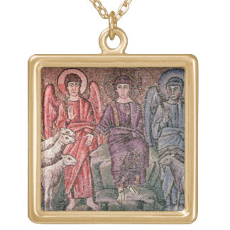 Christ Separates the Sheep from the Goats, 6th cen Gold Plated Necklace