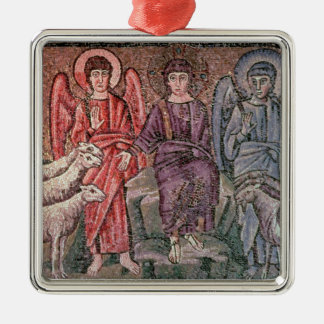 Christ Separates the Sheep from the Goats, 6th cen Silver-Colored Square Decoration