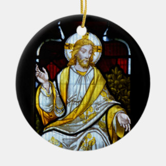 Christ Stained Glass Photograph Cornwall England Christmas Ornament