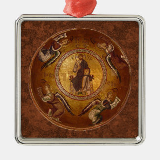 Christ the Pantakrator Christian Icon Silver-Colored Square Decoration