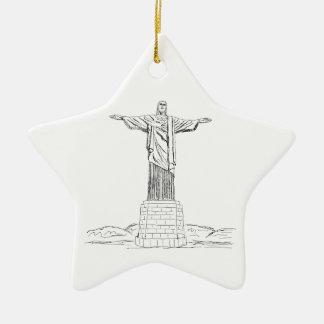 christ the redeemer ceramic star decoration