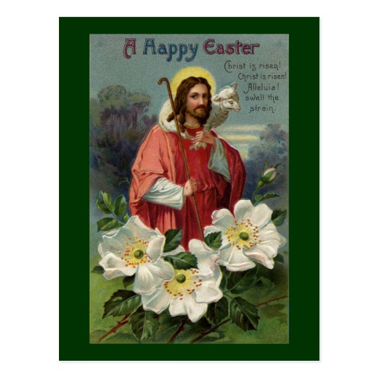 Christ the Shepherd with Lamb Vintage Easter Postcard
