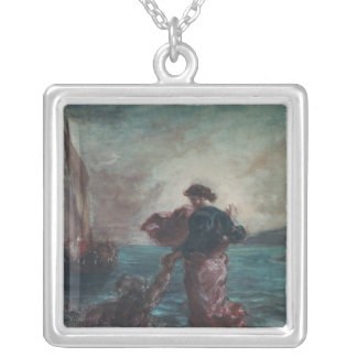 Christ walking on water silver plated necklace
