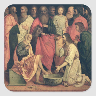 Christ Washing the Disciples Feet Square Sticker