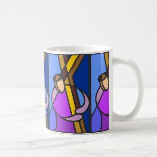 Christ With Cross Abstract Basic White Mug