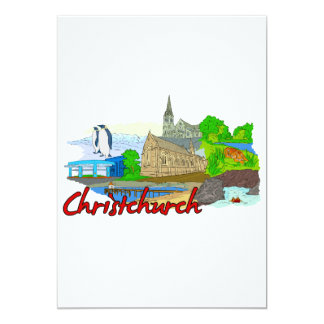 Christchurch - New Zealand.png 13 Cm X 18 Cm Invitation Card