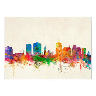 Christchurch New Zealand Skyline 13 Cm X 18 Cm Invitation Card