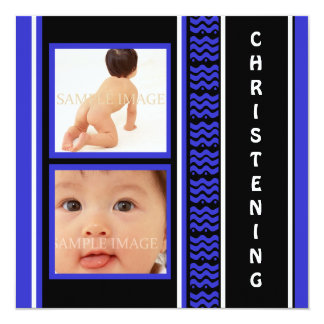 Christening baby boy blue black 13 cm x 13 cm square invitation card