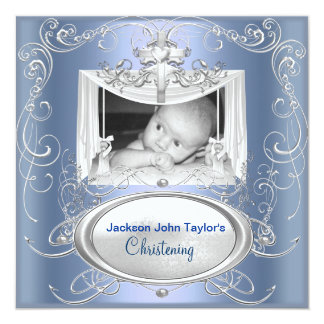 "Christening Baptism Baby Boy Silver Blue Cross 5.25"" Square Invitation Card"