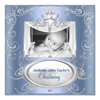 Christening Baptism Baby Boy Silver Blue Cross 5.25x5.25 Square Paper Invitation Card