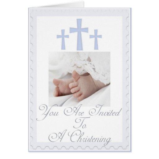 Christening baptism invitation for baby boy card zazzle