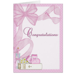 Christening Baptism Pink Congratulations Stationery Note Card