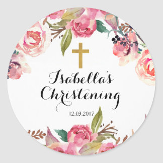 Christening Baptism Sticker - Gold cross