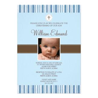 Christening Blue Stripe Photo Invitation - Boy